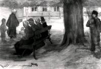 Bench with Four Persons and Baby