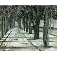Tuileries.mono.print Art Prints & Posters by David Buschman
