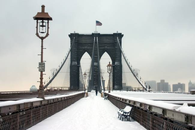Brooklyn Bridge In Winter