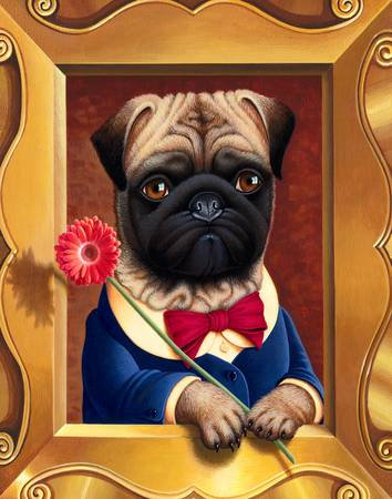 Pug - Ollie's Flower by Tara McGovern