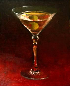 James Bond's Martini by artist Hall Groat II. Giclee prints, art prints, a still life, fine art print; from an original oil painting
