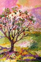 Grandmas Apple Tree Oil Painting by Ginette Calla by Ginette Callaway