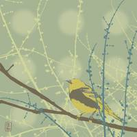 Spring Buds Bird Illustration
