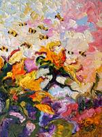Sunflowers & Bees Oil Painting by Ginette Callaway by Ginette Callaway