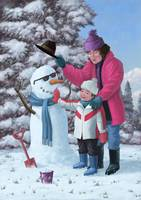 mother building snowman with son on winter day
