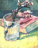 Blossoming Almond Branch in a Glass with a Book