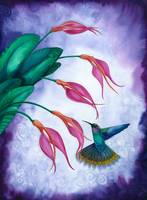 Hummingbird and Orchid Watercolour by Savanna Redman