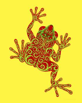 Red Eyed Tree Frog - Tropical Baroque Series by artist Savanna Redman. Giclee prints, art prints, animal art, patterned abstract frog; from an original  drawing