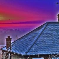 burnt shocking sky and ice roof by Louise Dionne