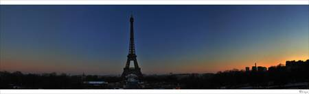 -  Panorama Sunset Eiffel tower -