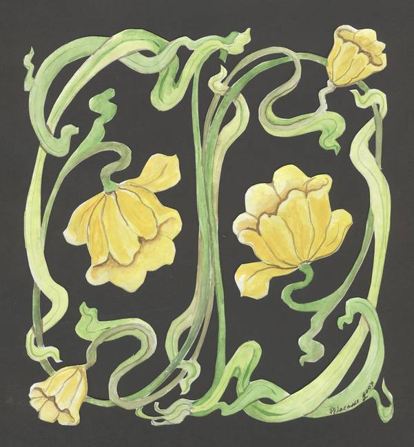 yellow art nouveau lily by Pamela Jean Lacasse