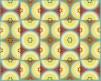 Circles Olive Yellow AB yellow, green and browns