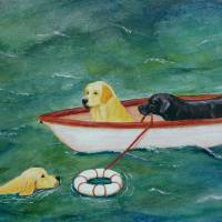 Lifeboat Labrador Dogs to the Rescue Art Prints & Posters by Amy Reges