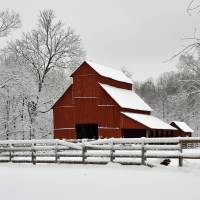 """Red Barn in Snow"" by LynnRoebuck"