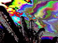 Psychedelic Wild Ice abstract fingers sky dog