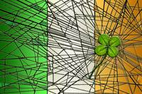 irish flag with four-leaf clover