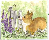 Welsh Pembroke Corgi with bird in garden. ACEO wc