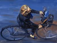 WARREN KEATING Fine Art Giclee Print PARIS CYCLIST