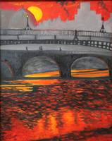 The Ha'penny Bridge, (Crimson Liffey)