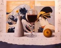 Wine Glass & Japanese Prints