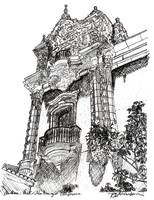 Balboa Park Architecture drawing by Riccoboni
