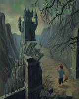 boy approaching haunted castle in nightmare