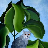Gray cat, blue sky, green leafs