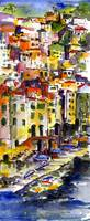 Riomaggiore Italy Cinque Terre Watercolor by Ginet by Ginette Callaway