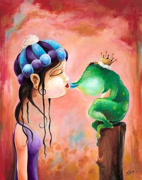 As You Know by artist Bryan Collins. Giclee prints, art prints, animal art; frog art, frog kissing a girl; from an original acrylic on hardboad panel painting
