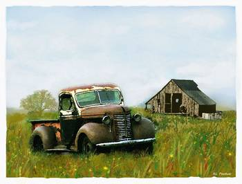 Old Truck And Barn By Rhondi Perdue