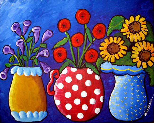 Three Vases Of Whimsical Flowers By Renie Britenbucher