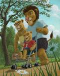 Lion family enjoying a day out