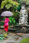 Bali woman in pink and green, Indonesia
