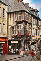 Streets of Dinan, Brittany, France