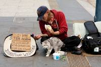 Homeless Man and Cat