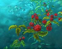 Impressionist Art, Berries and Leaves
