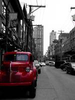 Character street with little red truck