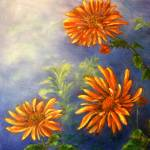 """Impressionist Orange Daisies in Blue Background"" by Lenora"