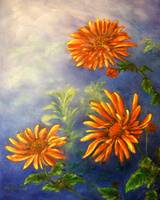 Impressionist Orange Daisies in Blue Background