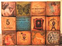 altered art collage blocks