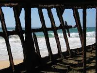 View from inside the Maheno Wreck, Fraser Island,Q