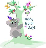 Koala Bear Celebrates Earth Day