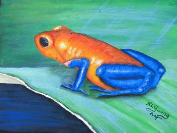 Blue Jeans Frog by artist Nancy Young. Giclee prints, art prints, animal art; frog art, a frog on a leaf; Dedrobates Pumilo; from an original  painting