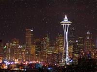 Seattle Skyline at Christmas w/ snow