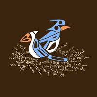 Text Me Bluebirds on brown background