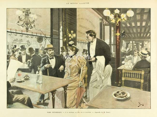 Le Monde Illustre 1892 - Cafe Scene