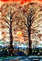 Two trees in fall - MagdalenaArt