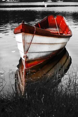 Black and White Red Boat by DApixara Black White Photos