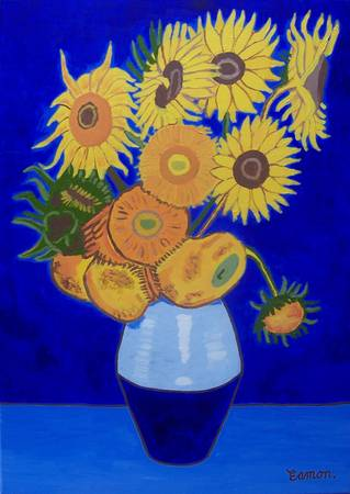 Sunflowers in blue - tribute to Van Gogh by Eamon Reilly