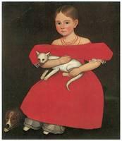 Girl in Red with Her Cat and Dog